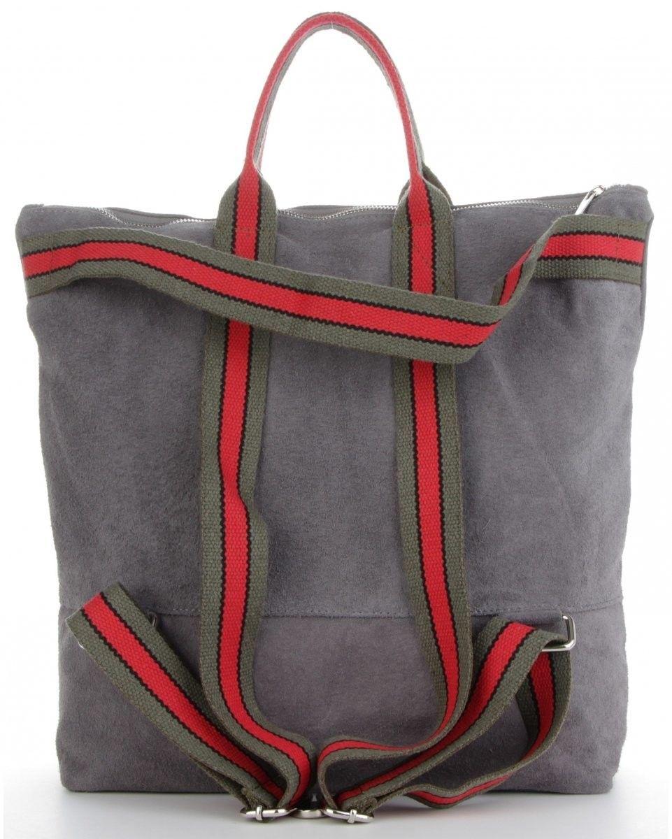 Uniwersalne Torebki Skórzane na każdą okazję Włoski Shopper z funkcją Plecaczka w modne paski renomowanej firmy Vittoria Gotti Szary (kolory)