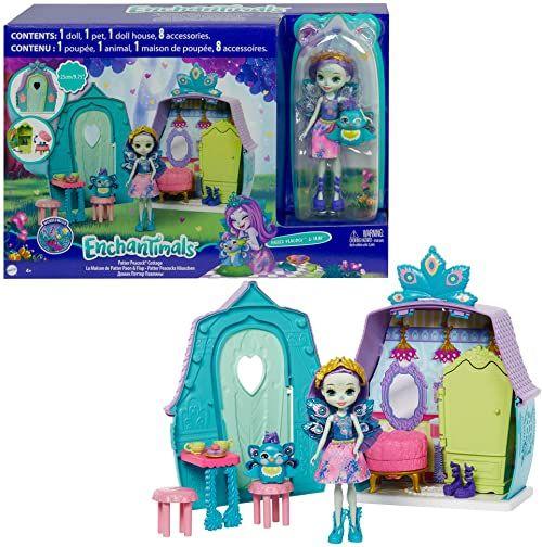 The Enchantimals Domek zestaw do zabawy z pawą lalką (6 cali/15,2 cm), figurka zwierzęca i 8 akcesoriów, wspaniały prezent dla dzieci w wieku 3-8 lat