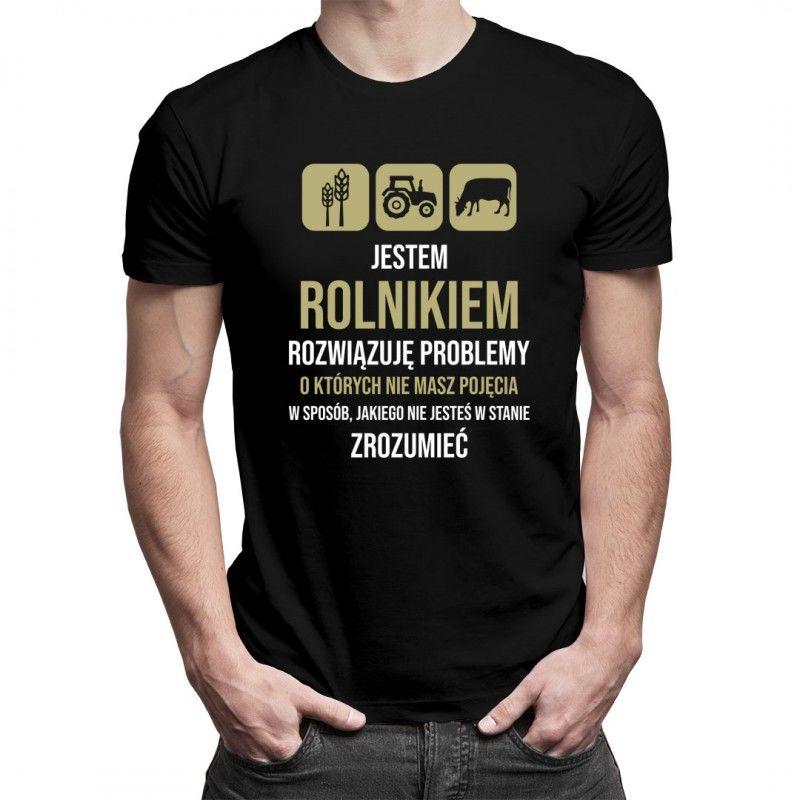 Jestem rolnikiem, rozwiązuję problemy - męska koszulka z nadrukiem