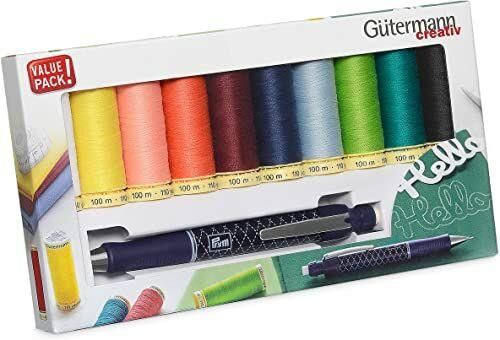 Guetermann 734566 Gutermann zestaw nici do szycia 100 ml x 10 bębnów plus wkład ołówek, Multi, jeden rozmiar