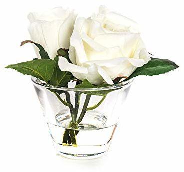 EUROCINSA 87668C01 szafka z 3 białymi różami, pudełko z 4 sztuki, tworzywo sztuczne, szkło, 16 x 15 cm