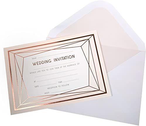 Neviti - Geo Blush - zaproszenia ślubne z kopertami, opakowanie 10 szt.