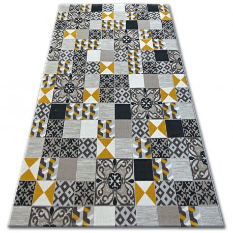 Dywan LISBOA 27218/255 Kwadraty Płytki Żółty Styl Lizboński Portugalski 80x150 cm