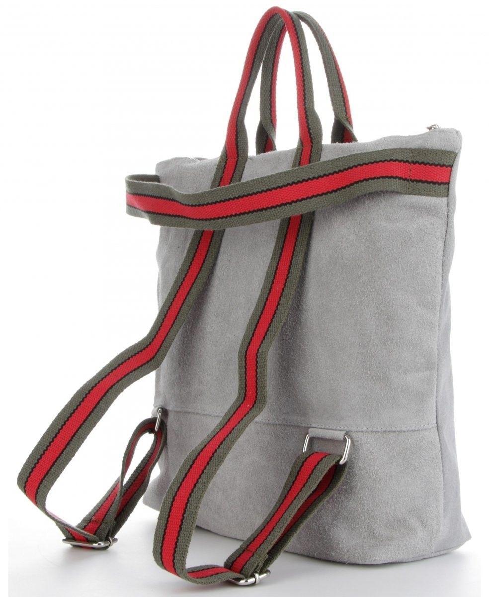 Funkcjonalne Torebki Skórzane w modne paski z opcją Plecaczka Włoski ShopperBag XL size renomowanej firmy Vittoria Gotti Jasno Szare (kolory)
