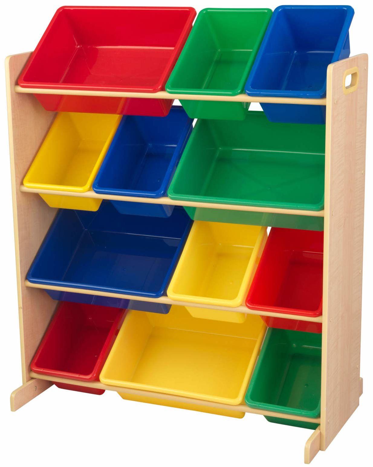 KidKraft 16774 podstawowy i naturalny sort it and Store It 12 jednostek na śmieci organizer do zabawek dla dzieci / sypialni meble