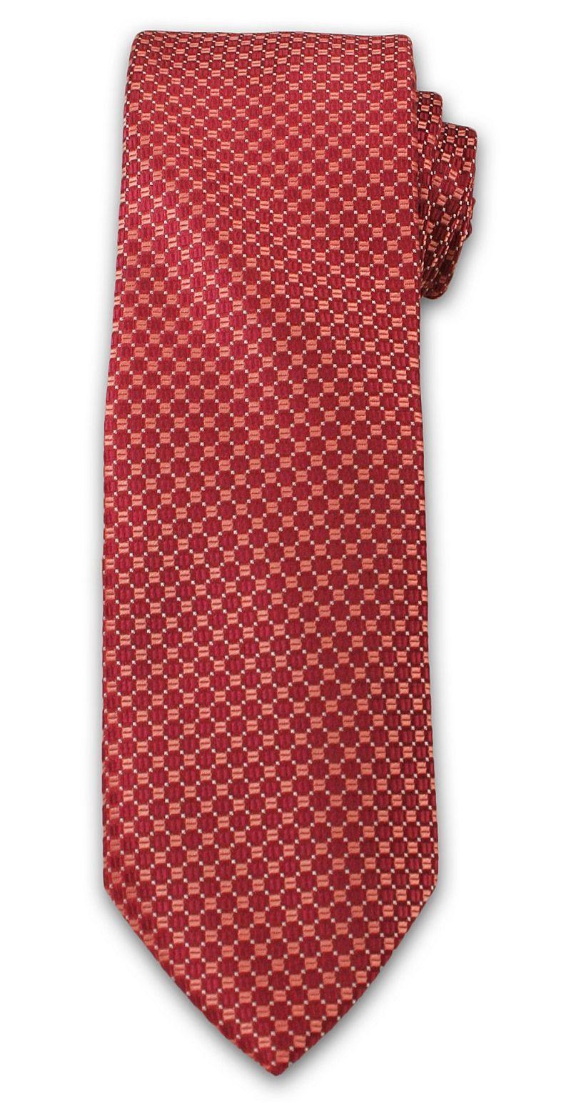 Wyrazisty Krawat Męski w Drobny Wzór, Kółka - Chattier, Łososiowo- Czerwony KRCH0988