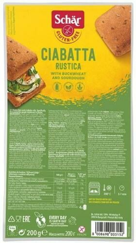 Ciabatta Rustica (wieloziar.4x50g) 200g, Schar