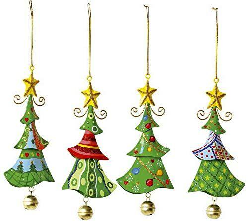 """Metalowe zawieszki """"choinka"""", artykuły bożonarodzeniowe / artykuły dekoracyjne zestaw 4 sztuk w kształcie choinki, piękna dekoracja bożonarodzeniowa na choince, oknie lub kompozycji drzwiowej"""
