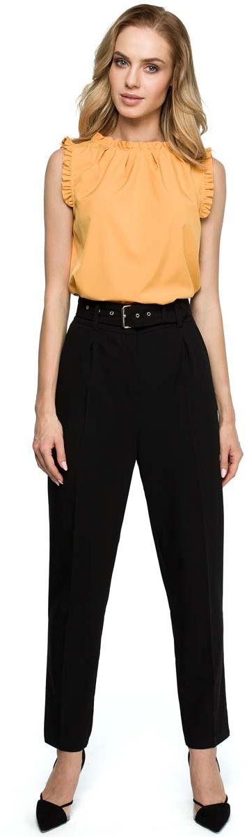 Czarne Klasyczne Spodnie w Kant z Wysokim Stanem