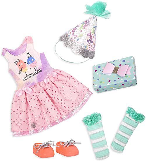 Glitter Girls GG50098Z Battat - What a Surprise - 35,5 cm luksusowy strój dla lalek urodzinowych - zabawki, ubrania i akcesoria dla dziewcząt w wieku od 3 lat