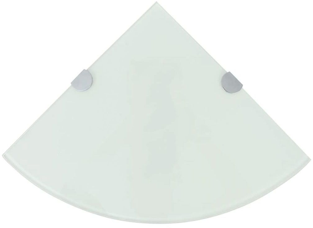 Półka narożna z białego szkła - Gaja 2X