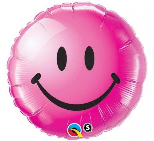 """Balon foliowy 18"""" Uśmiech, różowy"""