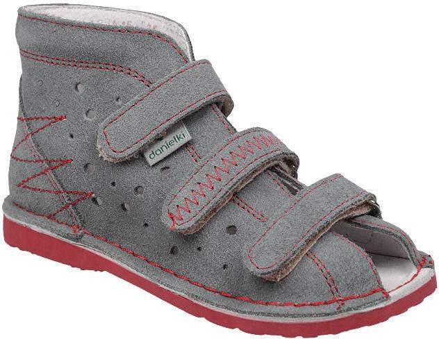 Kapcie profilaktyczne buty DANIELKI T105 T115 Szary+Czerwony - Szary Czerwony
