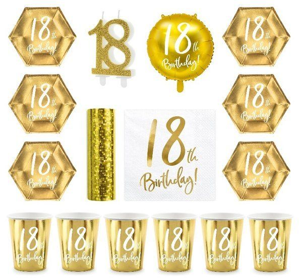 Zestaw dekoracji na 18 urodziny Kubeczki Talerzyki Serwetki złoty 35el. zes-18