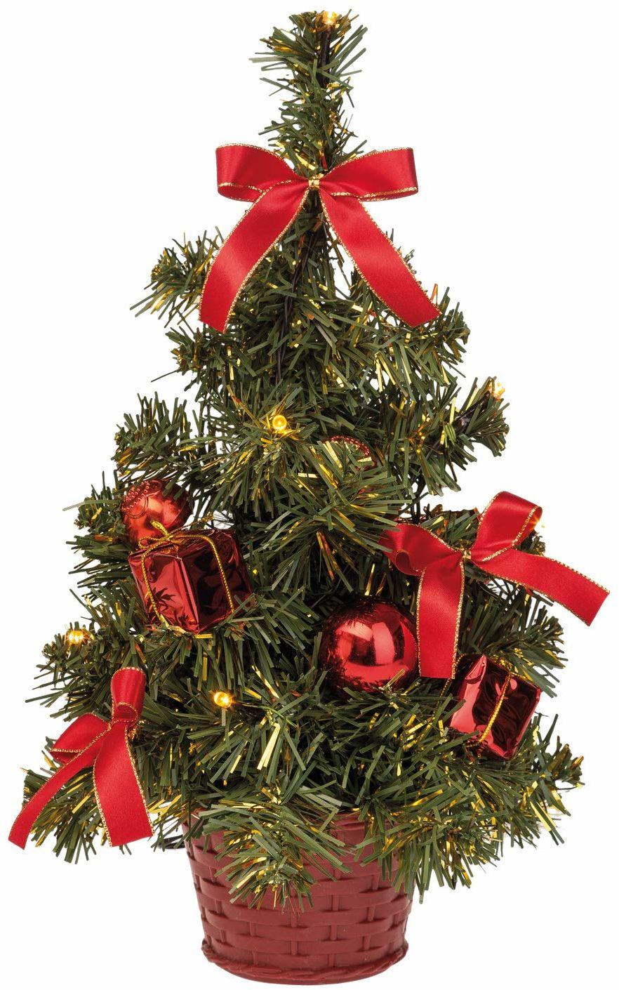 Idena 8582154 - Dekoracyjna choinka z 10 diodami LED ciepła biel, z 6-godzinnym timerem, na baterie, na Boże Narodzenie, Adwent, jako nastrojowe światło, choinka, ok. 35 cm