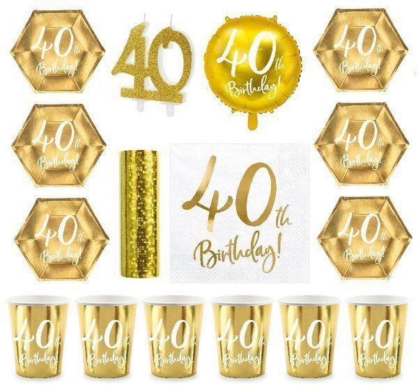 Zestaw dekoracji na 40 urodziny Kubeczki Talerzyki Serwetki złoty 35el. zes-40