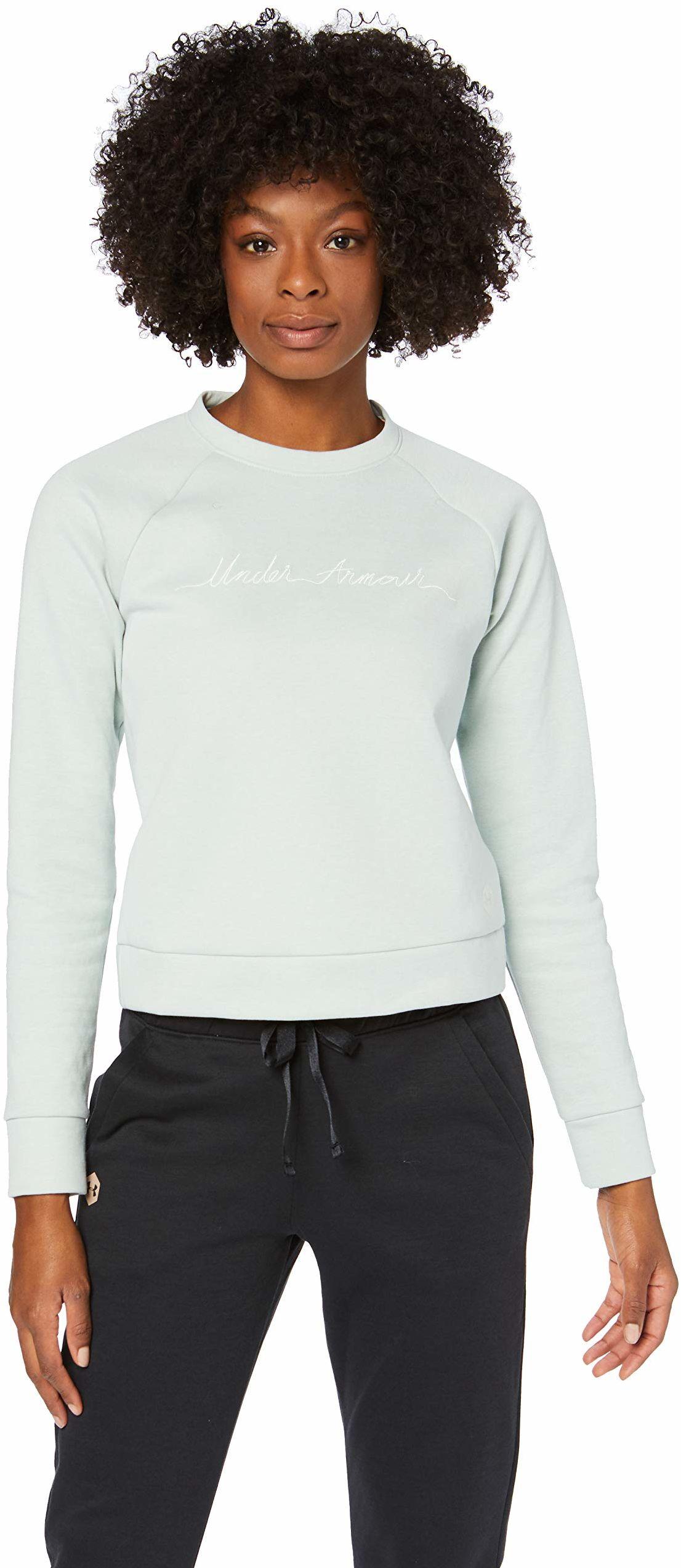 Under Armour damska koszulka z nadrukiem polarowy skrypt załoga rozgrzewka Atlas Green Medium Heather / Onyx White / Onyx White (189) XS