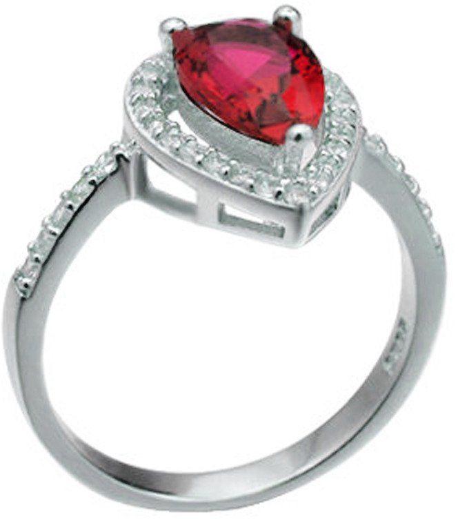 Srebrny Pierścionek z Rubinowym Kamieniem