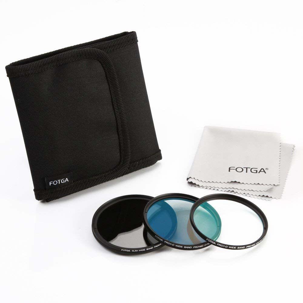 Fotga 62 mm wąski zestaw filtrów do obiektywów ze szkła optycznego (zmienna ND2-ND406 ND + MC UV + MC CPL) + woreczek filtrujący, pasuje do obiektywu aparatu Canon Nikon Sony Pentax DSLR