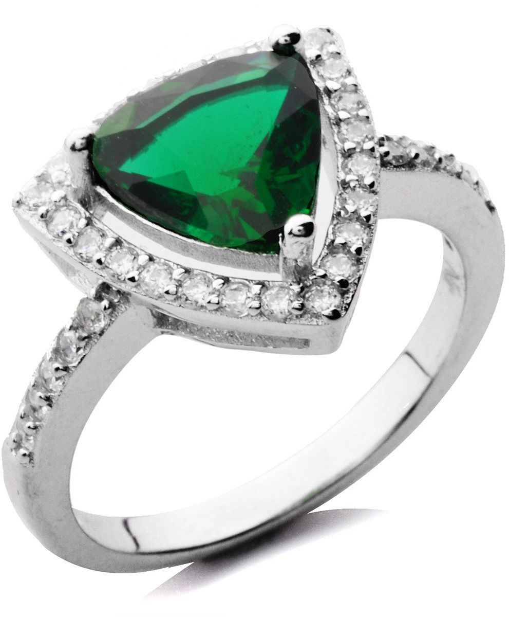 Srebrny Pierścionek z Zielonym Kamieniem