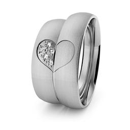 Obrączki ślubne klasyczne z białego złota niklowego 5 mm z sercem i brylantami - 78