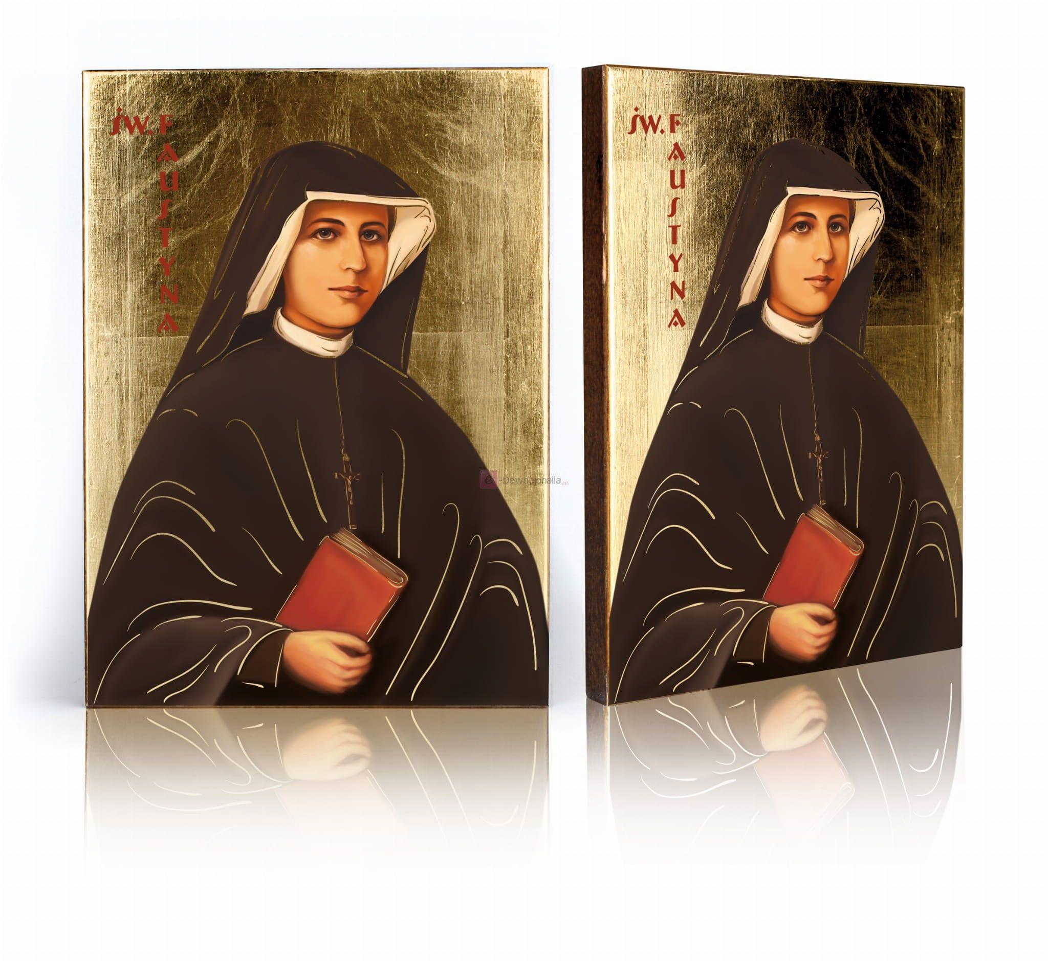 Ikona religijna Święta Faustyna z certyfikatem - 17x23cm