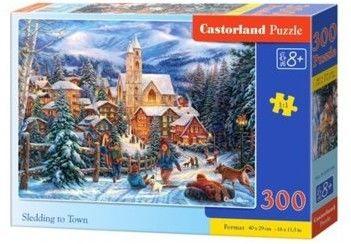 Puzzle Castor 300 - Zima w mieście, Sledding to Town