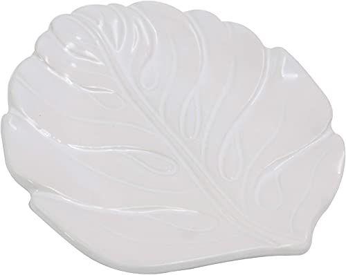 Miska do serwowania w kształcie liścia, ceramiczna, biała, wymiary: 15 x 16 x 2 cm, materiał: ceramika (referencja: 3131021)