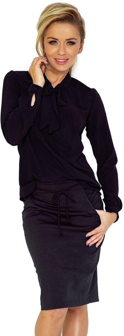 Czarna bluzka elegancka z wiązaną szarfą