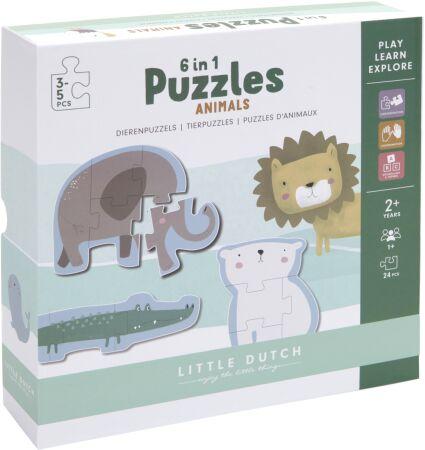 Puzzle Zoo zwierzęta 6 elementów Little Dutch