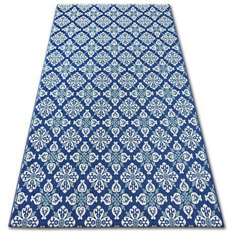 Dywan SZNURKOWY SIZAL COLOR 19246/699 Kwiaty Niebieski 80x150 cm