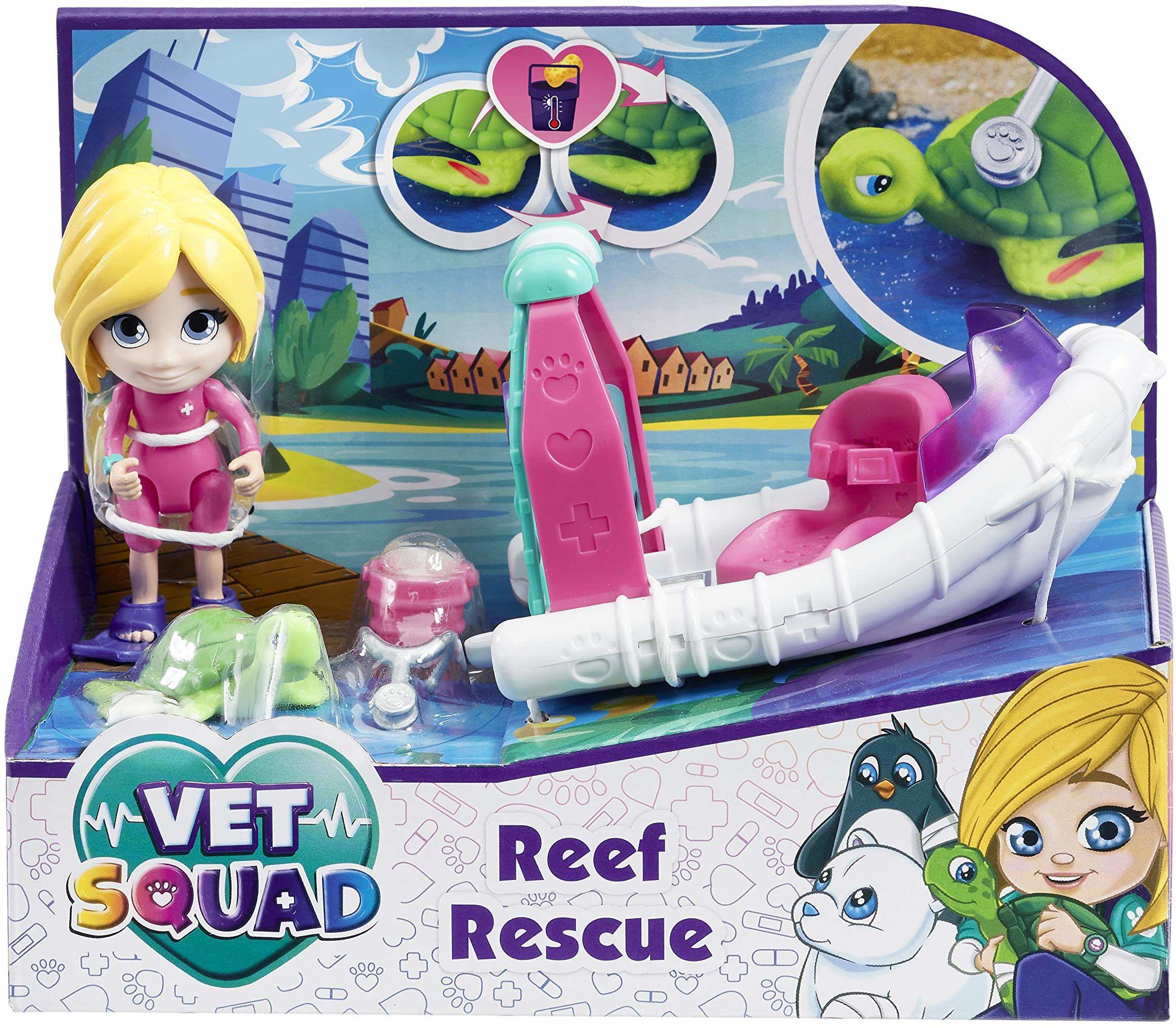 Vet Squad Reef Rescue-Emily & Boat, 7,5 cm przegubowa figurka weterana z pojazdem, zwierzęciem i akcesoriami