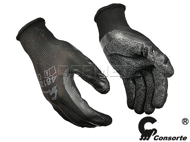Rękawice robocze czarne poliestrowe z lateksem, 481, rozmiar 9 - Consorte