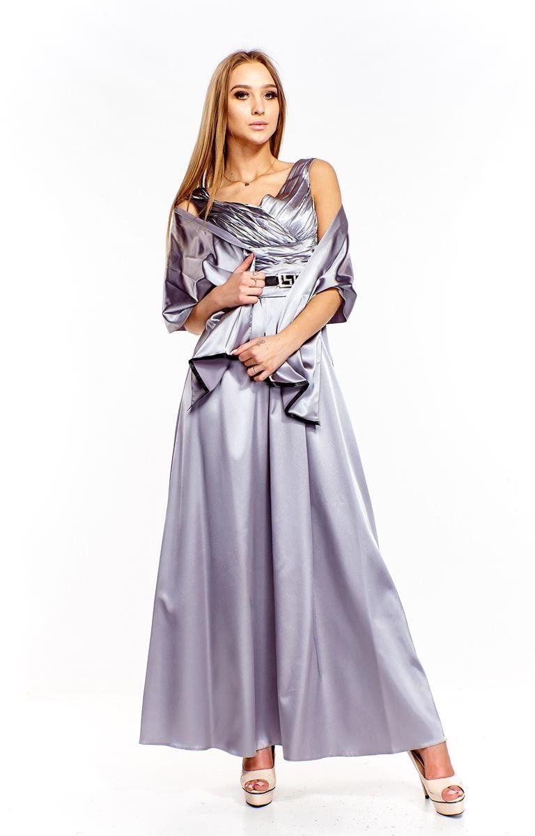 FSU733 Suknie wizytowe Sukienka SZARY JASNY