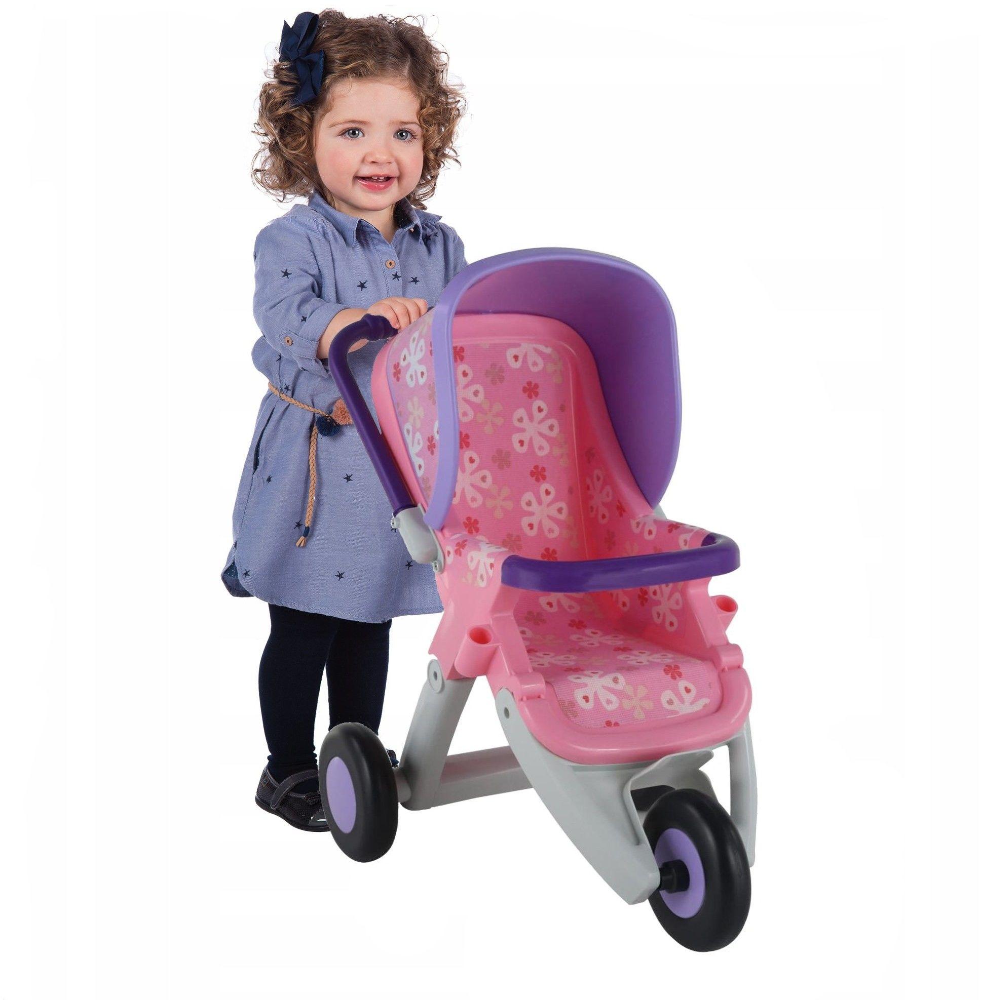 Duży wózek spacerówka dla lalek fioletowo różowy Wader QT