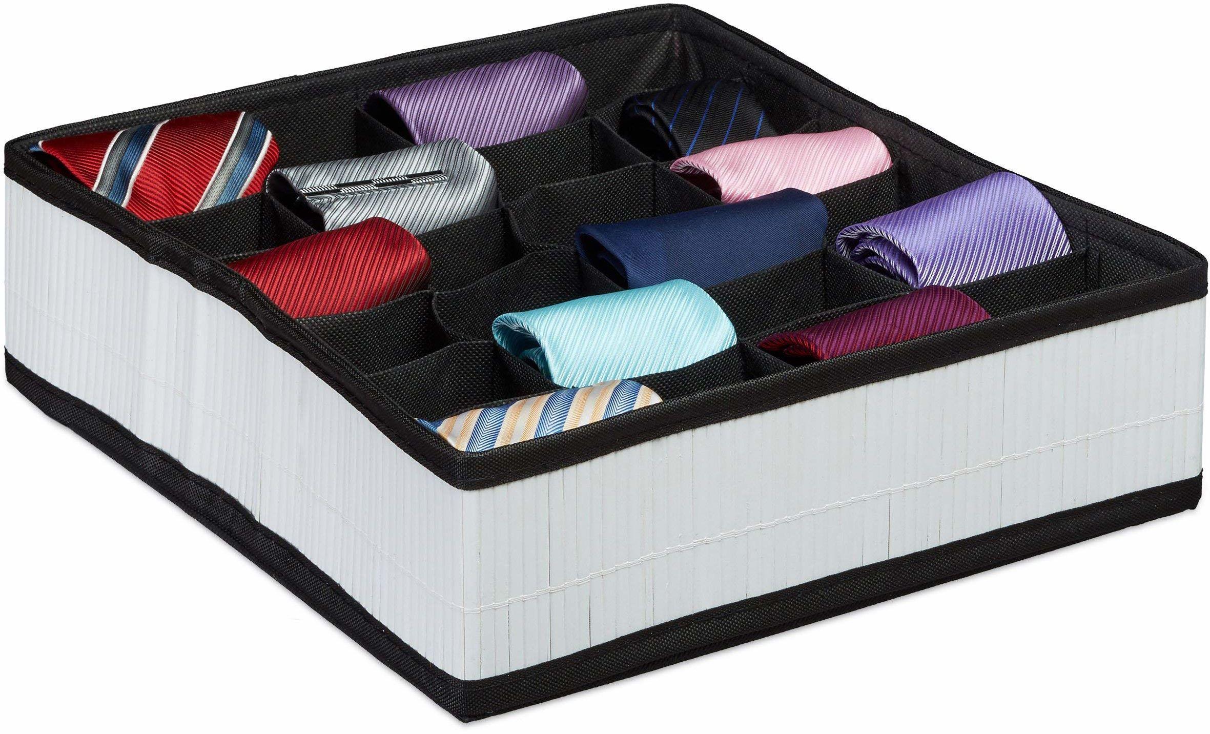 Relaxdays pudełko na krawat, wygląd bambusa, składane, do skarpetek, bielizny, 24 przegródki, organizer do szuflad, biały, 31 x 34 x 10 cm