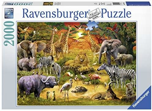 Puzzle Ravensburger 2000 - Spotkanie dzikich zwierząt, Gathering at the Waterhole