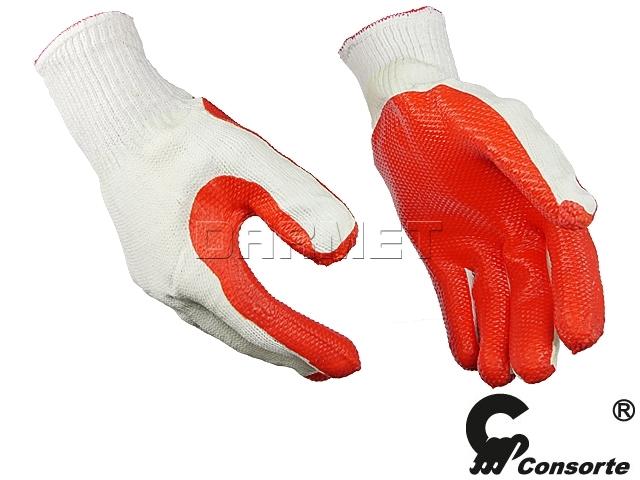 Rękawice robocze białe poliestrowe z szarym nitrylem, 445 - Consorte