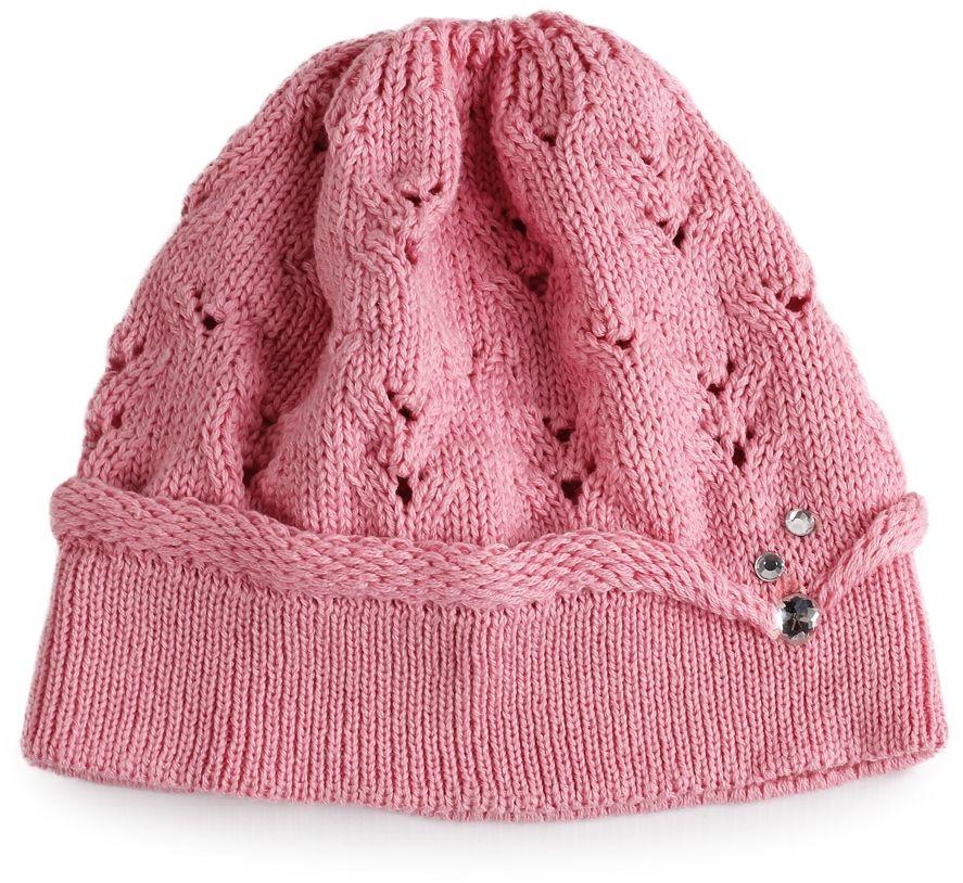 Pleciona czapka dla dziewczynki 46 różowa