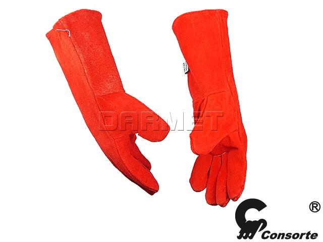 Rękawice spawalnicze do spawania z dwoiny barwione 35 cm, 301 - Consorte