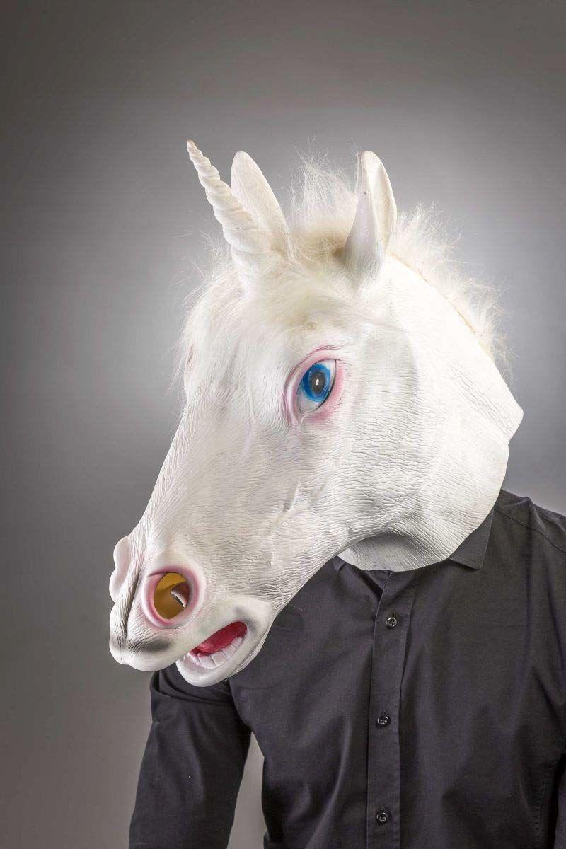 Folat 23829 maska jednorożec biały 100% lateks maska jednorożca, wielokolorowa
