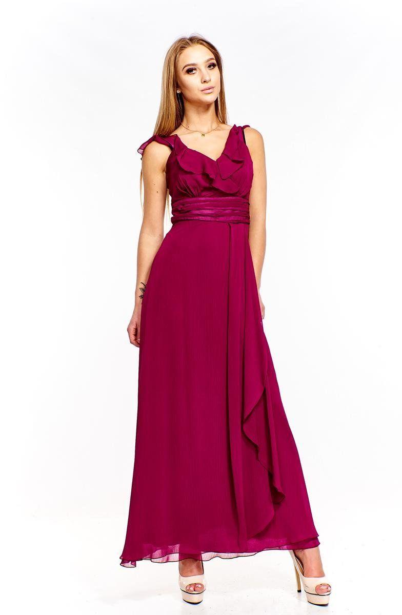 FSU734 Suknie wizytowe Sukienka PURPUROWY