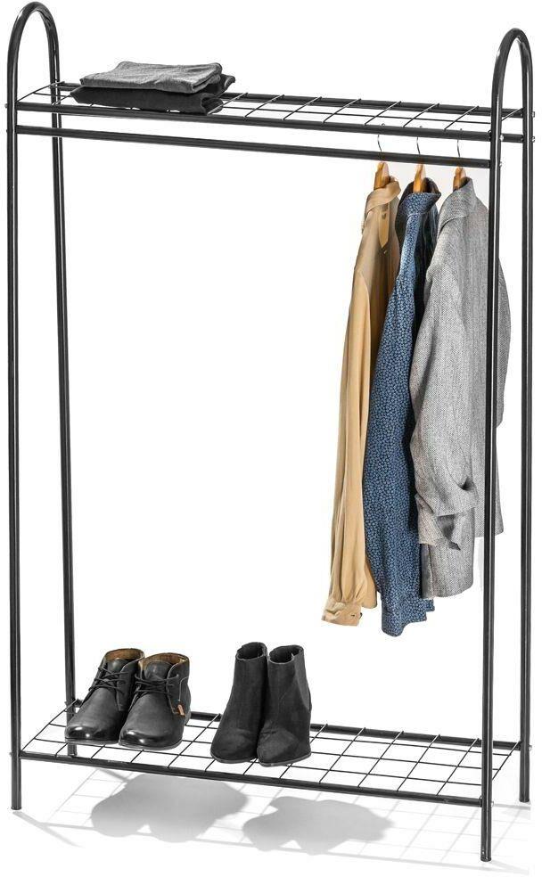 Metalowy wieszak na ubrania, czarny stojak podłogowy, garderoba, loft