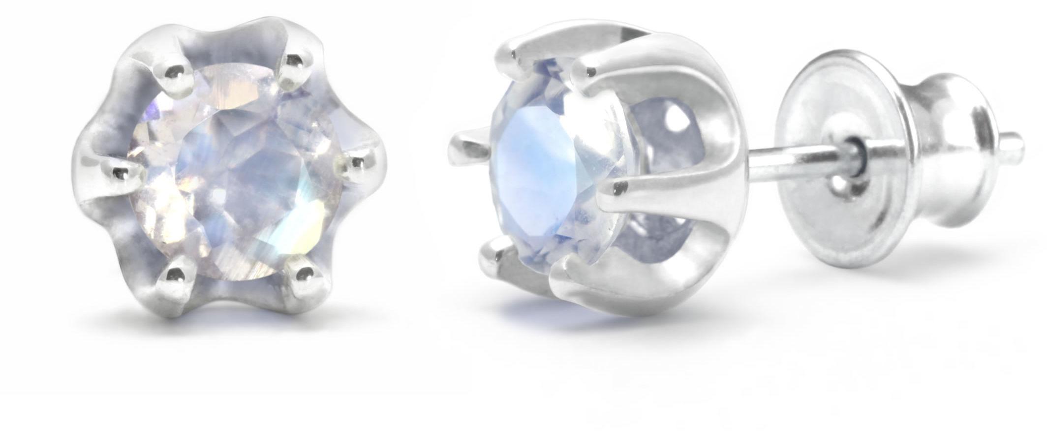 Kuźnia Srebra - Kolczyki srebrne sztyft, 15mm, Kamień Księżycowy, 2g, model