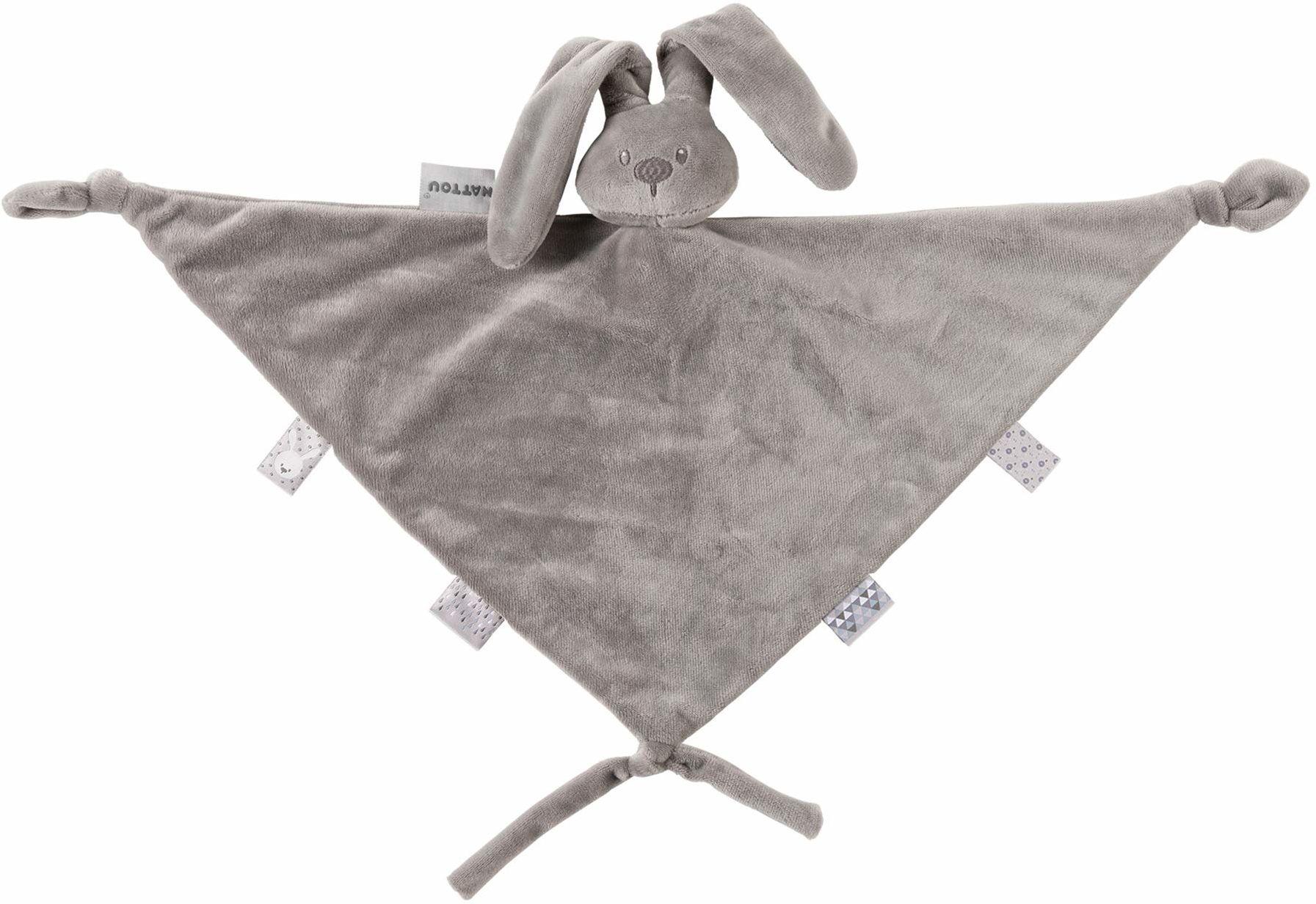 Nattou Duży ręcznik do karmienia zając Lapidou, towarzysz od urodzenia, 65 x 40 cm, Lapidou, szary