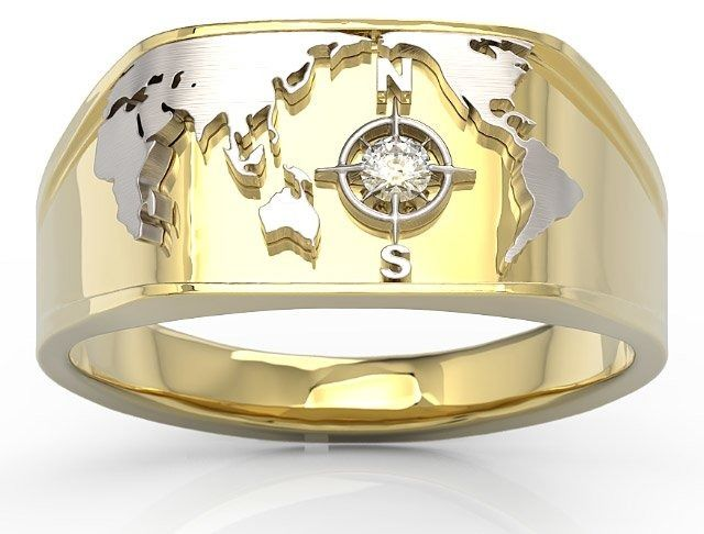 Sygnet morski z żółtego i białego złota z brylantem sj-1406zb