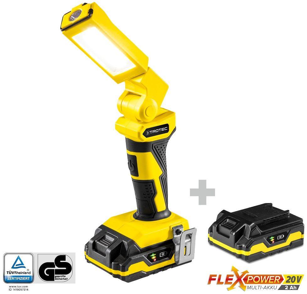 Akumulatorowa lampa robocza PWLS 10-20V plus Wielofunkcyjny akumulator Flexpower 20V 2,0 Ah