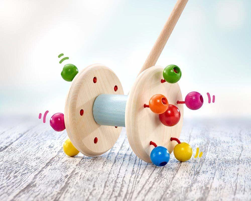 Selecta 62028 Roller, drewniana zabawka do pchania, 10 cm
