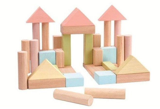 Pastelowe klocki drewniane 40 szt. - Plan toys