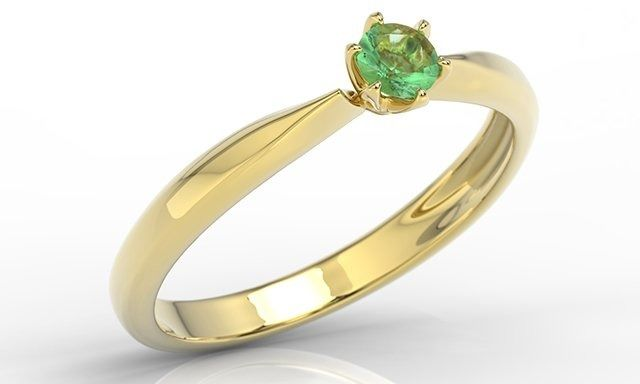 Pierścionek zaręczynowy z żółtego złota ze szmaragdem, model ap-3620z